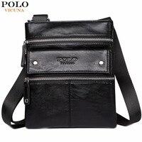 VICUNA POLO Leather Messenger Bag With Front Pocket Famous Brand Business Man Bag Men Handbag Vintage