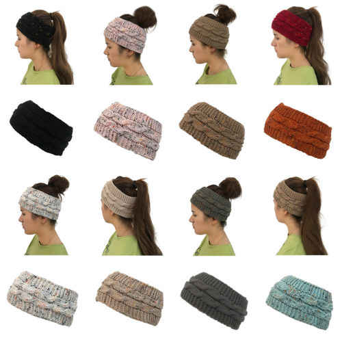 cf49b00e0 2018 Autumn New Womens Beanie Tail Messy Soft Bun Hat Ponytail Stretchy  Knit Crochet Skull Cap
