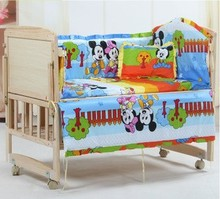 Promotion 6PCS Mickey Mouse Bedding Sets Baby Baby Crib Bedding Set for Cheap Sale include bumpers