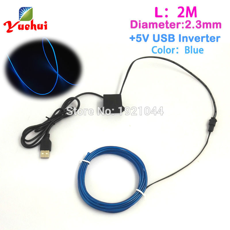 2017 New 2.3mm 2Meters Blue EL Wire Flexible Light Glow Neon Rope Strip Neon Light with 5V USB Inverter For Party Decoration