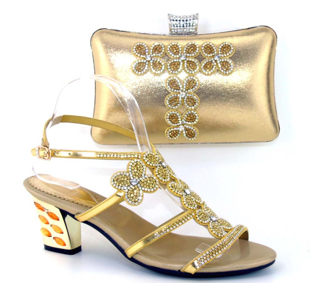 ФОТО African Women Bags And Shoes For Wedding Heels Rhinestones Good Quality 2016 Latest Italian Shoes With Matching Bags!MWE1-9