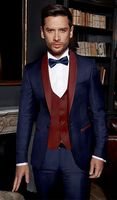 2018 Tailored Navy Blue Suit Men Groom Tuxedo Wedding Suits for Men Jacket 3 Piece Custom Prom Blazer Terno Masculino
