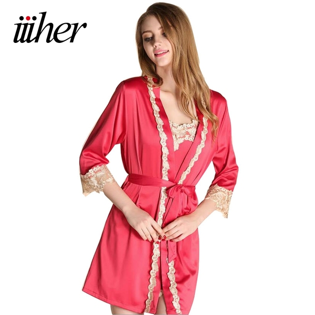 iiiher Embroidery Bride Bridesmaid Robe Sleepwear Red Pajama Sets Women Sexy V-Neck Sleepwear Imitation Silk Pijamas Femininos