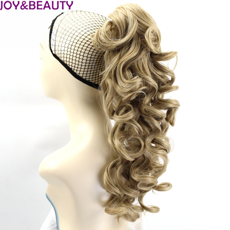 JOY&BEAUTY 24inch Long Kinky Curly Ponytail Drawstring Hair Heat Resistant Clip In Hair Extensions Natural Fake Hair Tail 5Color