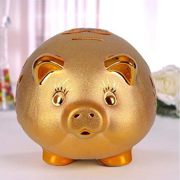 Tirelire cochon blanc doré face