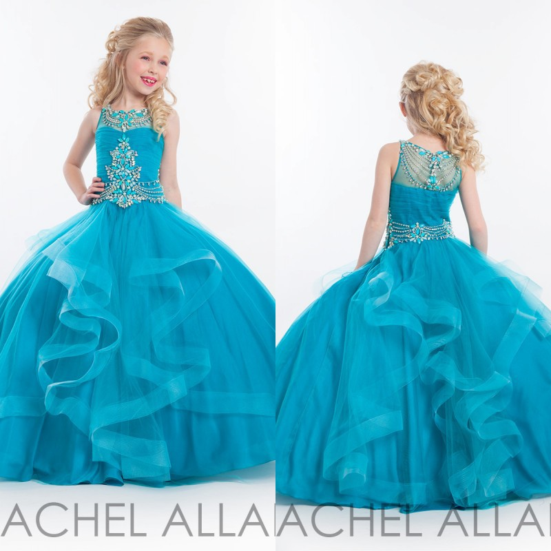 Girls Beauty Long Pageant Dresses Ball Gown Tulle Ruffles Cascading ...