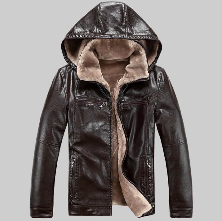 New winter men's leather jackets men fur genuine belt cap leather ...
