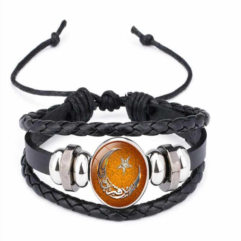 ボヘミアンビーズ男性女性古典的なロープ多層レザーブレスレットアッラー時間宝石革ビーズの宝石類のギフト