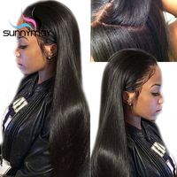 Sunnymay Hair 180% Density Straight Full Lace Human Hair Wigs For Women Brazilian Remy Full Lace Wigs With Baby Hair Glueless
