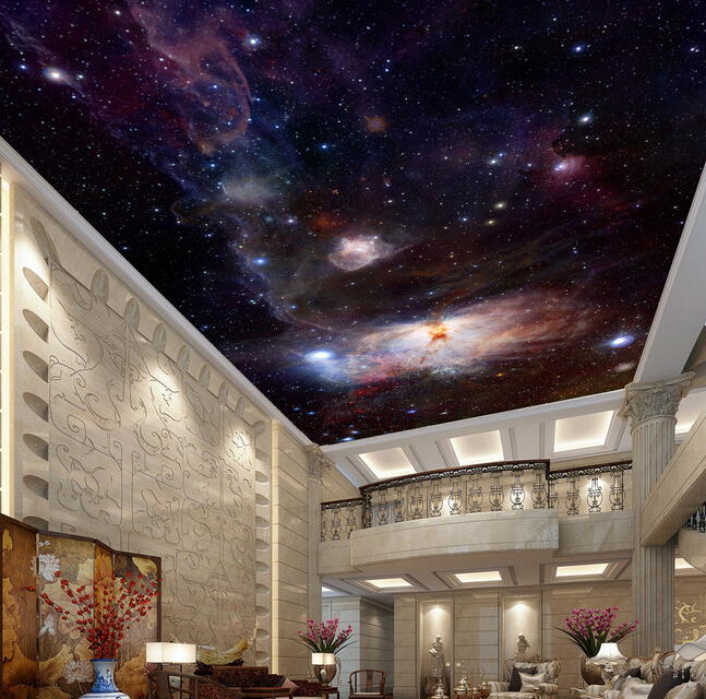 Custom Ceiling Wallpaper, Fantasy Star For The Living Room