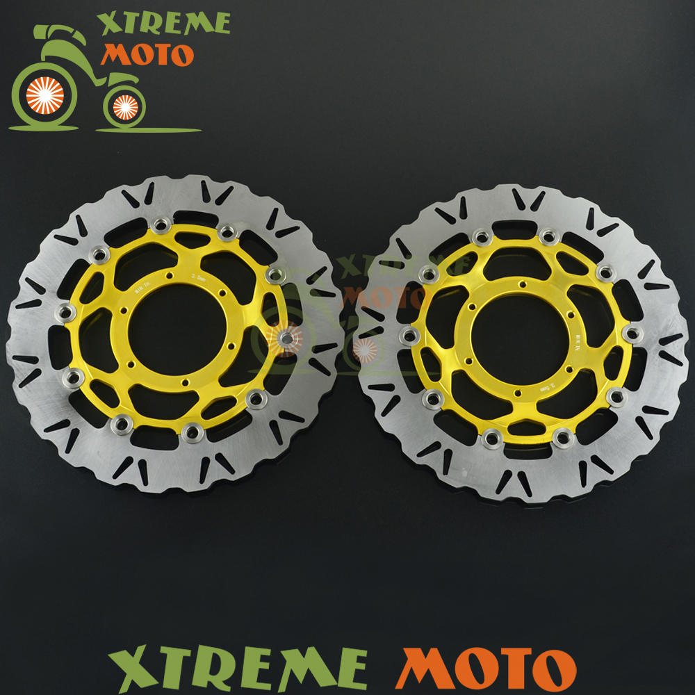 2Pcs Gold Motorcycle Front Floating Brake Disc Rotor For CBR1000RR 06-07 VTR1000R SP1 SP2 RC51 00-07 Motocross Dirt Bike
