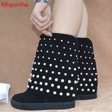 Miquinha Crystal Embellished Height Increasing Women Spring Autumn Boots Wedges Shoes Brand Designer Round Toe Mid-calf Boots