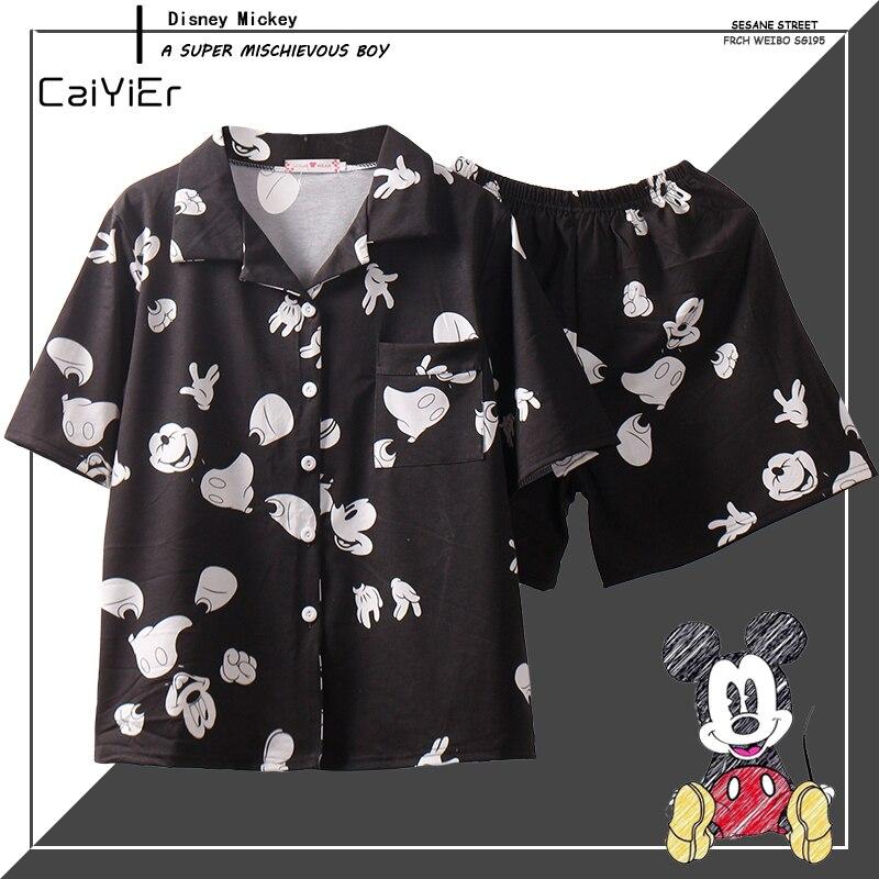 Caiyier Black Mickey Loose Pajama Sets Women Short Sleeve Sleepwear With Eye Mask Cotton Nightwear Casual 2019 Summer Homewear
