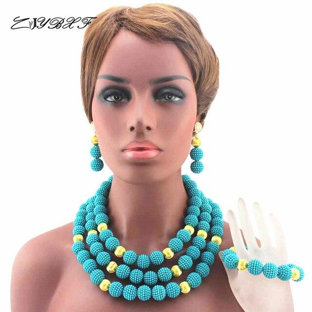2019 Mới Màu Xanh Dương và Phát Hiện Nhựa Vòng Cổ Ngọc Trai Nigeria Truyền Thống Wedding Beads Phi Trang Sức Set HD8001