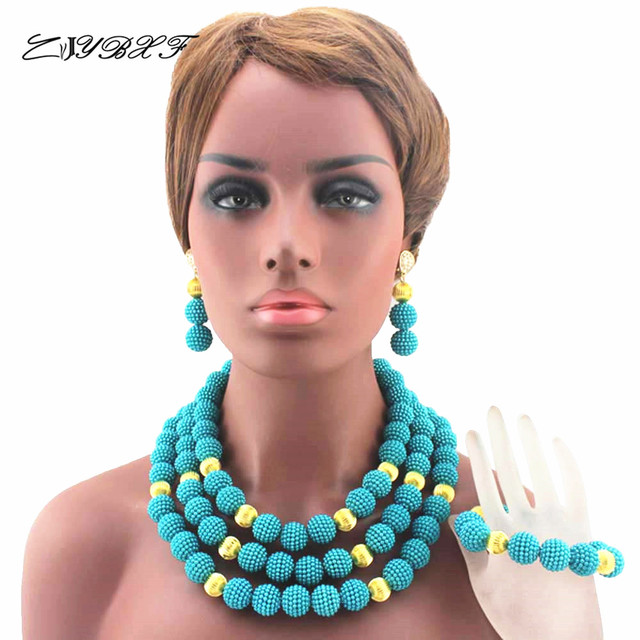 2019 New Lake Blue and  Findings Plastic Pearl Necklace Nigerian Traditional Wedding African Beads Jewelry Set  HD8001