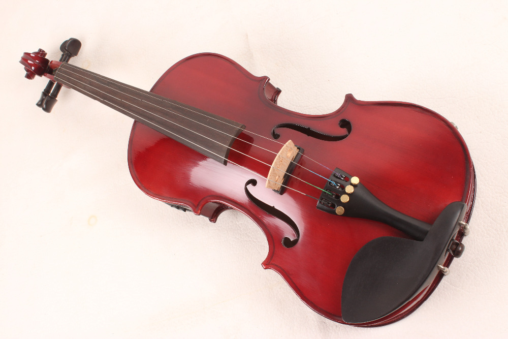 4-String 4/4 New Electric Acoustic Violin red  #1-2553# handmade new solid maple wood brown acoustic violin violino 4 4 electric violin case bow included