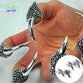 2016 nueva Punk Vintage de plata Anti plateó Rhinestones Dargon garras uñas ajustable anillos para mujeres armadura de uñas joyería anillo de hombre