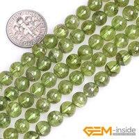 7mm 8mm Rond Vert Naturel Péridot Quartzs Pierre Semi Précieuse Perles en Vrac de BRICOLAGE Perles Pour Bijoux Faire Strand 15