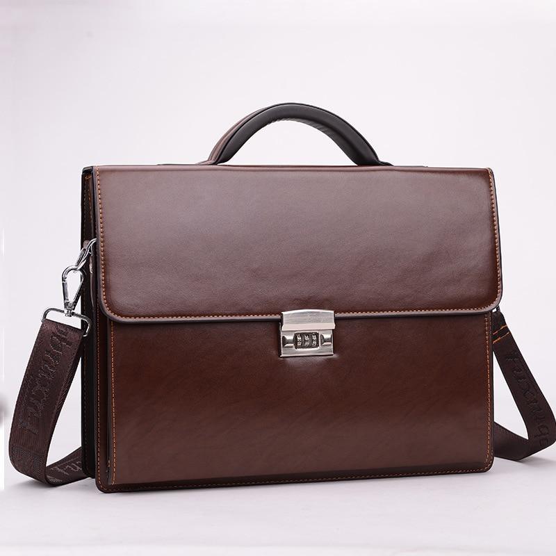 Business Men Bag Pu Leather File Briefcase With Code-Lock  Men Messenger Bags Fashion Portfolio 14