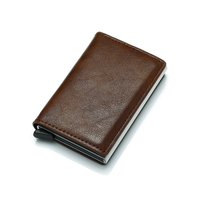 Hombres de cartera bolsa de dinero Mini bolso de hombre de aluminio Rfid tarjeta titular de la cartera pequeña y fina Cartera Smart cartera Wallet