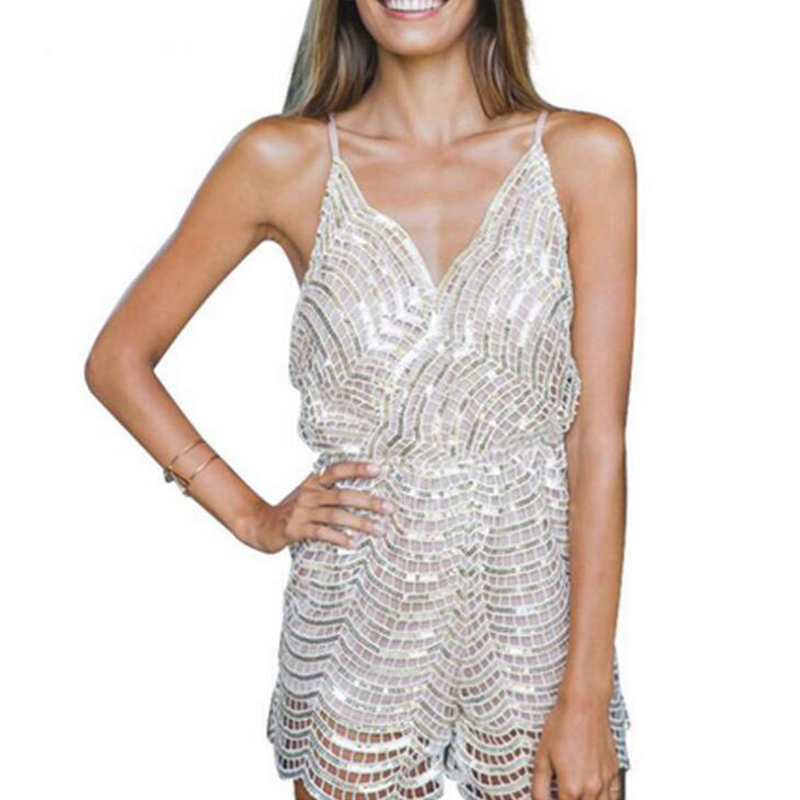 Women Sequined Party Jumpsuit Sexy Backless Deep V Neck Night Club Playsuit For Women Summer Spaghetti Strap Famale Jumpsuit