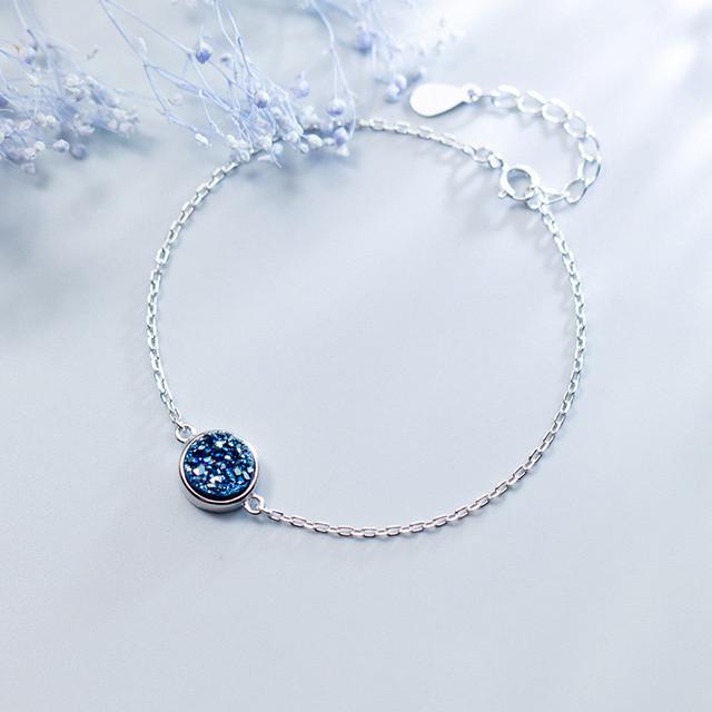 925 Sterling Silver Druzy Stone Kyanite Bracelet