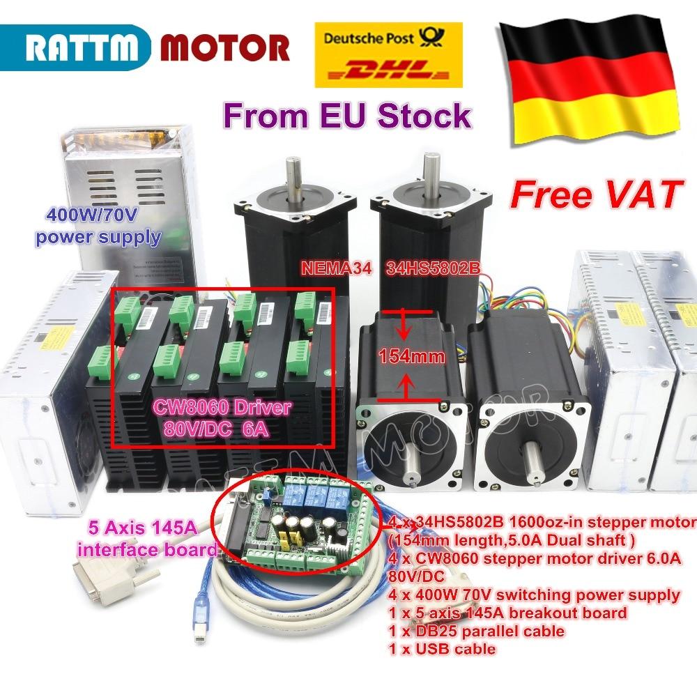 DE free VAT 4 Axis NEMA34 Stepper Motor Dual shaft 1600oz-in 12N.m CNC Controller Kit for Large size CNC Router Milling Machine