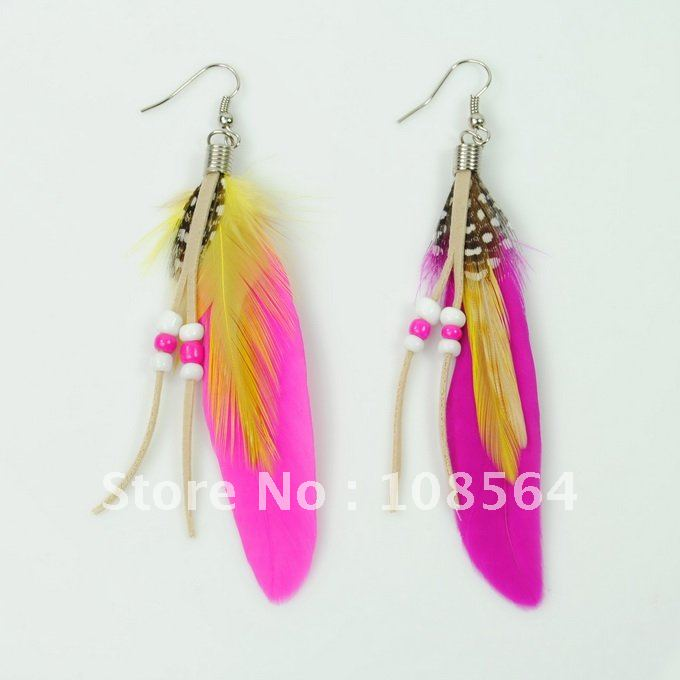 New Fashion Feather Dangle Pea Earrings Pink Vintage Jewelry Jr0038 Free Shipping 18 Pairs In 1 Lot Drop From
