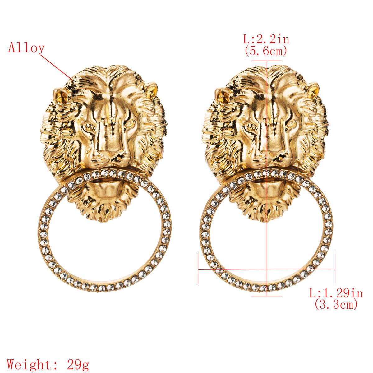 """2019 gorąca sprzedaż Vintage Alloy Lion ozdoba do włosów wypadania Dangle kolczyki dla kobiet biżuteria Trendy ladys """"kreatywne kolczyki akcesoria"""