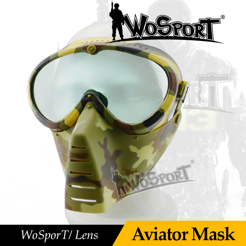 WoSporT Tactical Military Archery Full Face Anti-fog Aviator Len Safe Mask With Protective Goggle For Airsoft Paintball Hunting