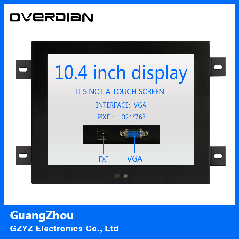 10.4/10VGA interface Non-touch Screen Industrial Monitoring Machines Metal Shell Embedded Lcd Monitor1024*768 Hanger Fixed 10 4 10 vga dvi interface non touch industrial control lcd monitor display 1024 768 metal shell hanger card installation 4 3