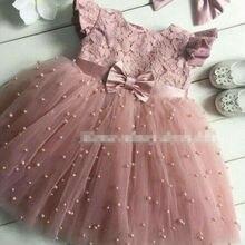 Кружевное платье принцессы с фатиновой юбкой для девочек платье на свадьбу и день рождения Пышное детское летнее кружевное платье с фатиновой юбкой