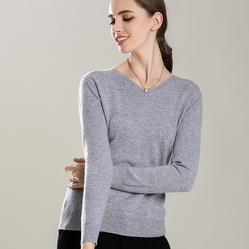 Hotlist Women 100 Cashmere V-neck Pullover Colors Basic Style Womens Jumper Warm Winter Necessary Allmatch Render Sweater Base