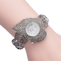 2015 New Fashion Women Leaf Parttern Japan Movt Quartz Watch Silver Bracelet Watch