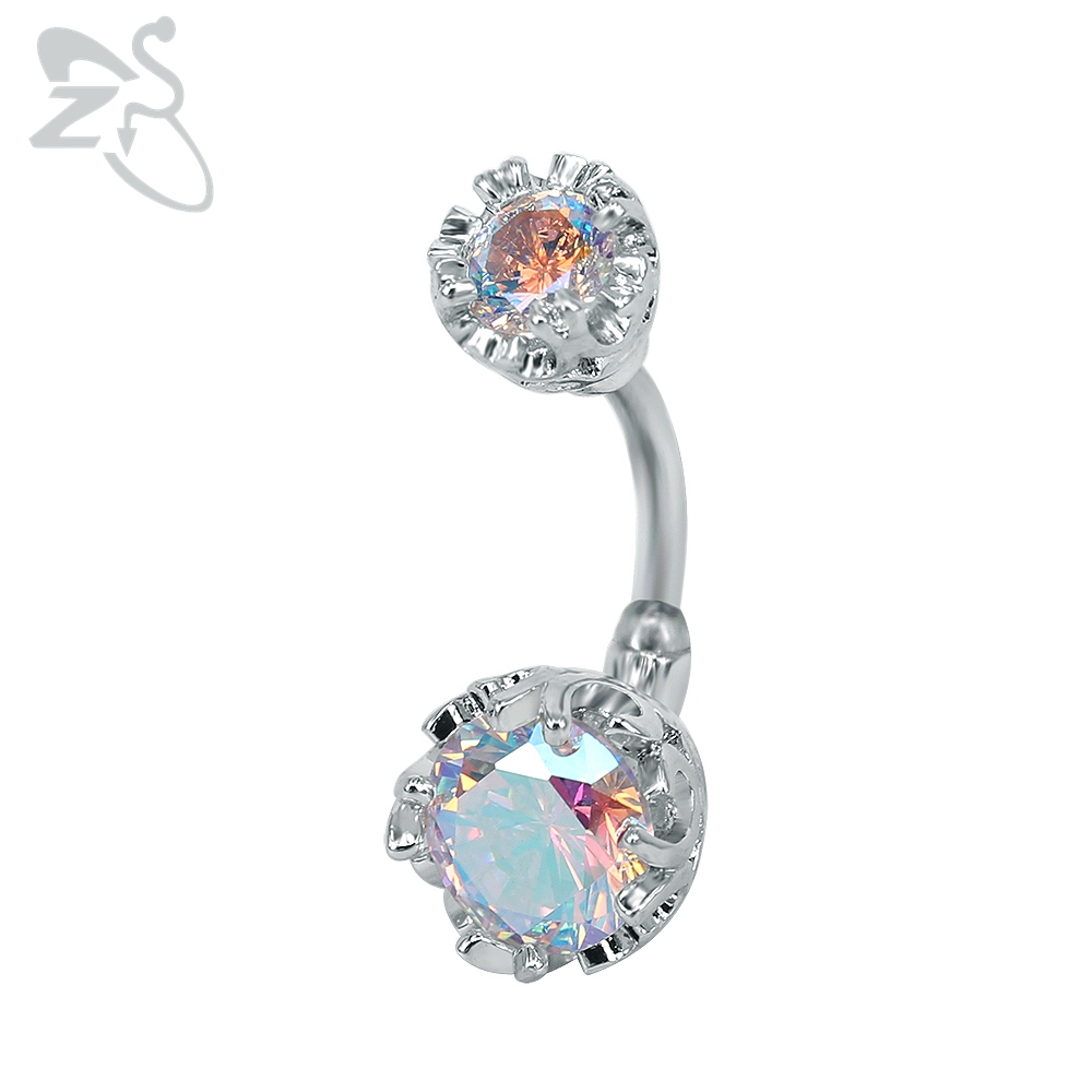 Double Side Navel Belly Button Ring Surgical Steel Bright Cr