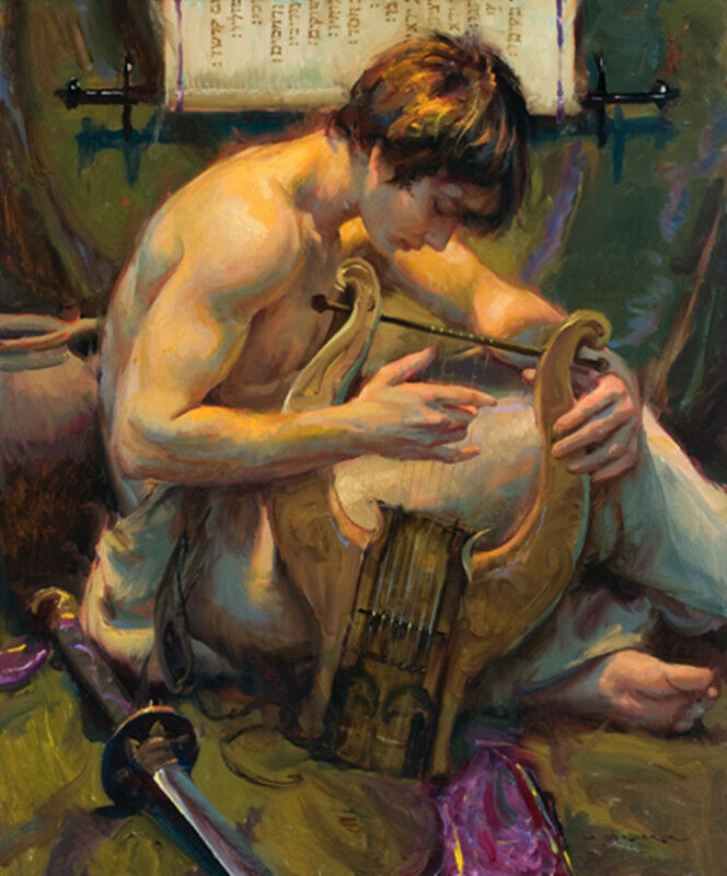 Impressionism young male nude boy plucked the strings 20*24 # hand painted #Original Oil painting on Canvas #free shipping
