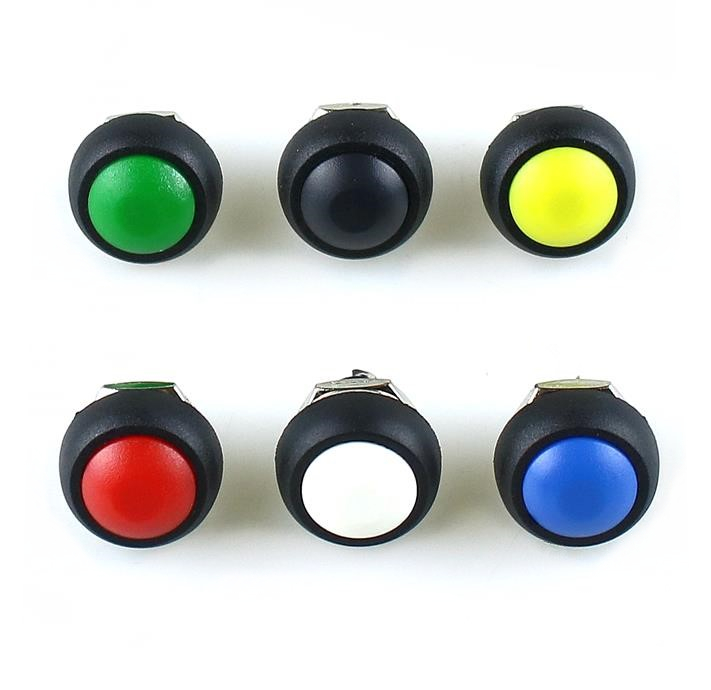 5Pcs PBS-33B 12mm Mini Switch 2Pin  1A Waterproof Momentary  button Switch Black Red Green Yellow White Blue 5Pcs PBS-33B 12mm Mini Switch 2Pin  1A Waterproof Momentary  button Switch Black Red Green Yellow White Blue