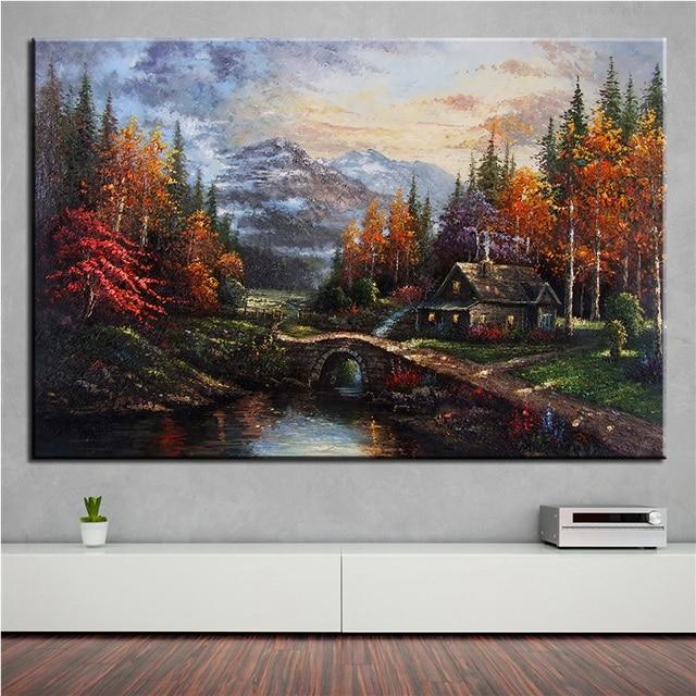No Frame Home Printed Thomas Kinkade Peaceful Landscape Oil Painting