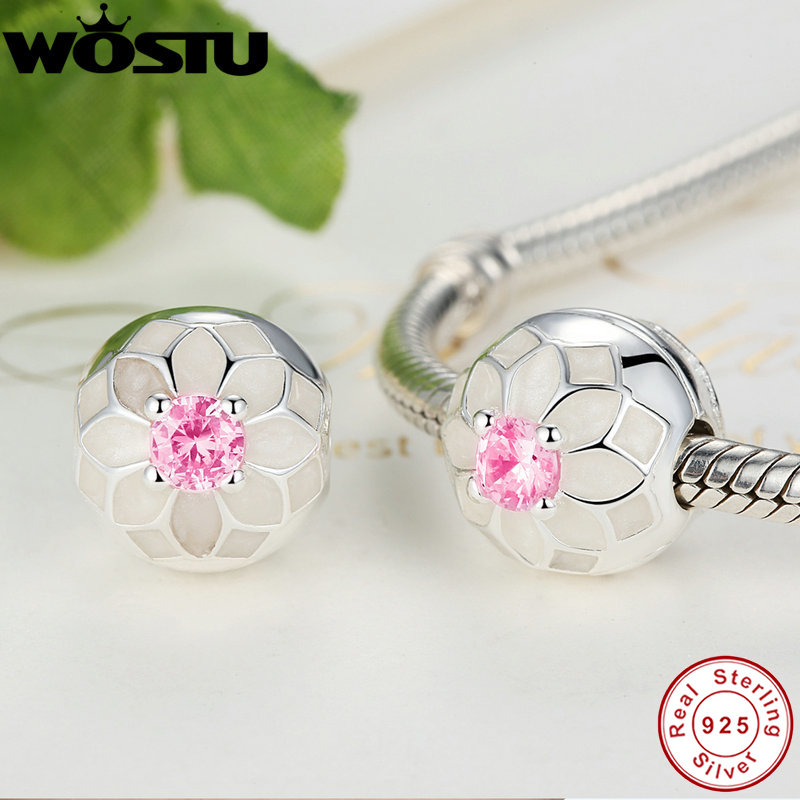 Real 100 925 Sterling Silver Blooming Dahlia Clip Charm Beads Fit Original Pandora Bracelet Authentic Luxury