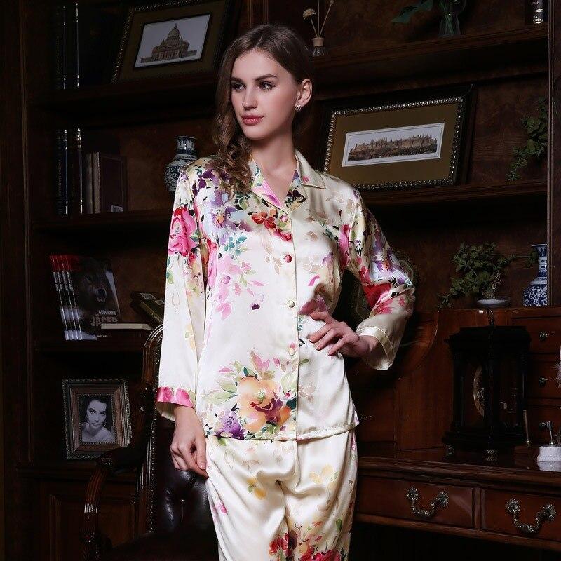 Sexy Real Silk Pajama Female 100% SILK Sleepwear Women Long-Sleeve Pyjama  Pants Two 169cb6981