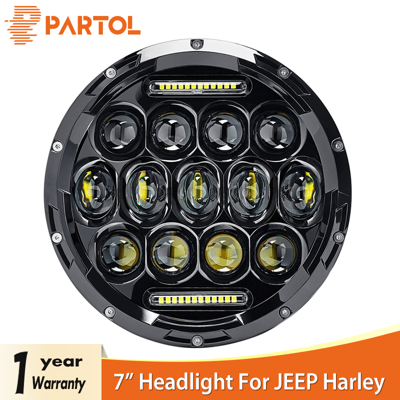 Partol 7 Round LED Headlight Bulbs 75W Motorcycle Headlight Projector Daymaker Car Lights for Jeep TJ JK Harley Land Rover