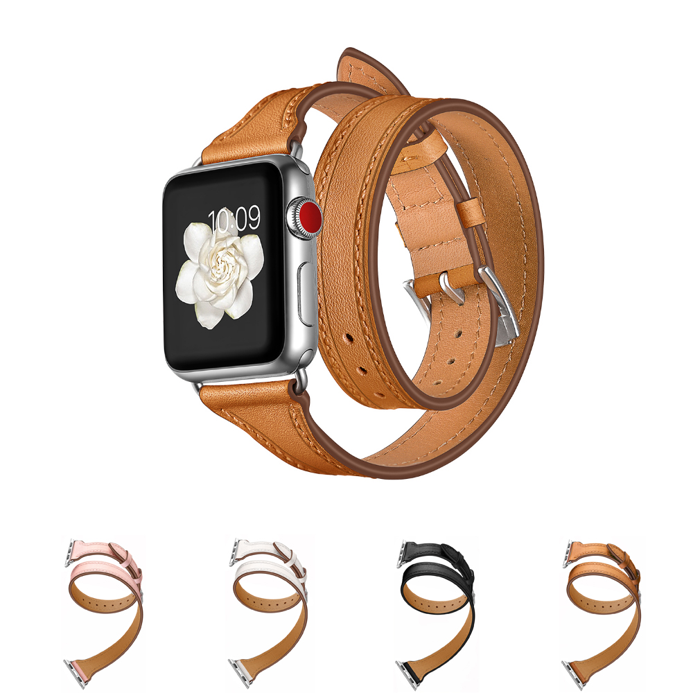 strap For Apple watch band 42mm 38mm 3 2 1 iWatch Double Tour Genuine Leather watchband Bracelet loop Wrist belt+metal buckle leather double buckle cuff band for apple watch 38mm 42mm strap bracelet