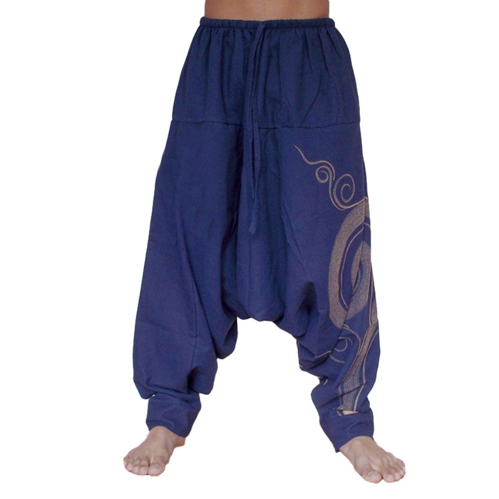 Trousers Joggers Yoga-Pants Harem Aladdin Drop-Crotch Floral Loose Polyester Unisex Full-Length