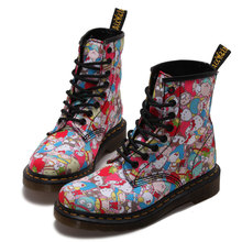 2016 Free Shipping New Hot Sale Love Myun Martin boots 8 hole boots canvas printing Hello Kitty booties women's boots