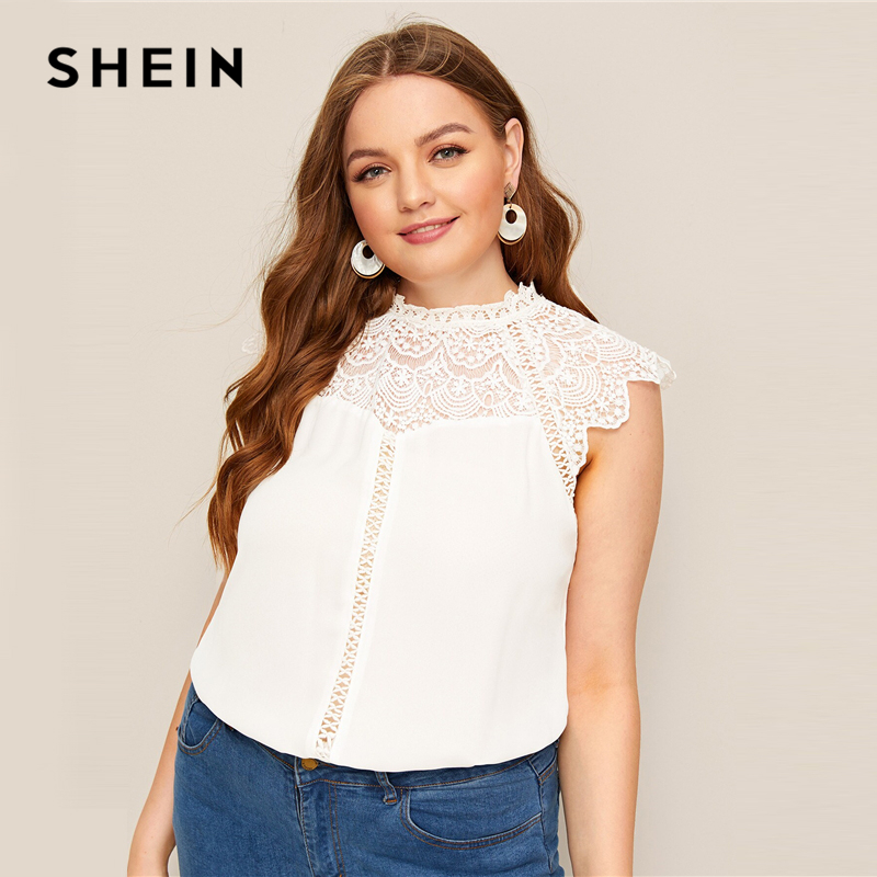 SHEIN Plus Size White Mock-Neck Guipure Lace Yoke Top Blouse 2019 Women Summer Elegant Contrast Lace Cap Sleeve Button Blouses