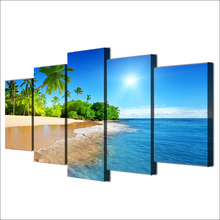 Wall Art Decor Living Room 5 Pieces Sea Water Palm Trees Sunshine Seascape Paintings Canvas HD Prints
