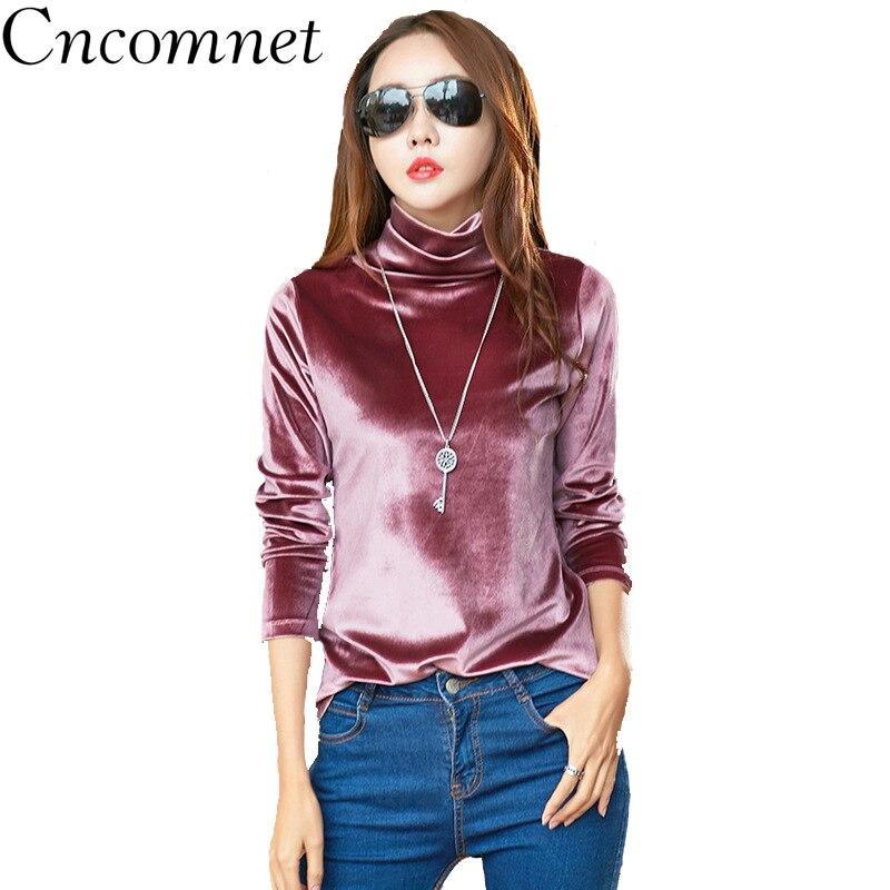 CNCOMNET גבירותיי חולצות זהב קטיפה גבוהה צווארון ארוך שרוול מוצק צבע השפל חולצה למעלה נשים סתיו החורף חדש אופנה T חולצה