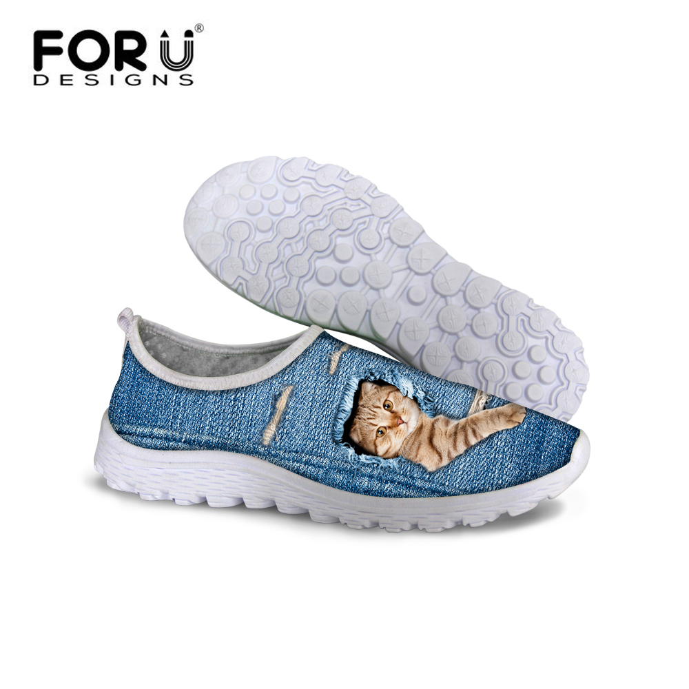 FORUDESIGNS Summer Fashion Women Mesh Shoes 3D Pet Cats and Dogs Printing for Girls Flats Loafers Comfortable Lazy Casual Shoes forudesigns cartoon shark print women flats shoes sneakers casual women s summer mesh shoes beach girls loafers slip on zapatos