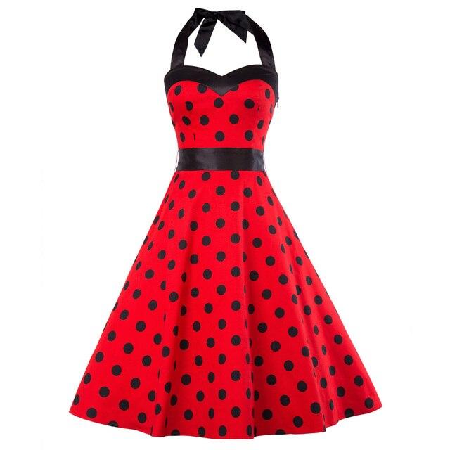 c6766d0003ebe8 Frau Kleid 2018 Sommer Halter Vintage Rot Schwarz Polka Dot Kleid Retro  Cocktail Party 50 s