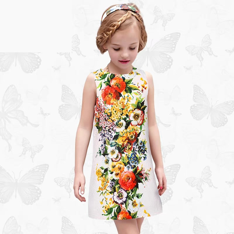 Autumn Spring children clothes kids girls flower print evening dress infant girl 100-160cm fashion party formal jacquard dresses summer kids clothes children holiday bohemian hydrangea flower print ruffle big hem full dress infant girl evening party dresses